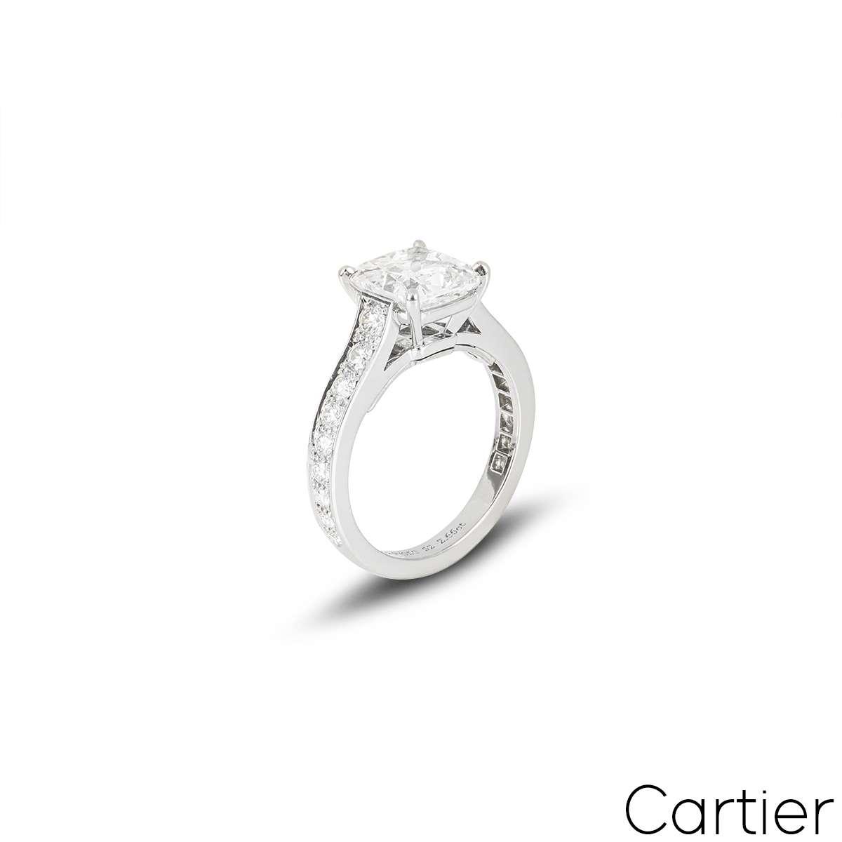 Cartier Platinum Diamond 1895 Solitaire Ring 2.66ct E/VS1